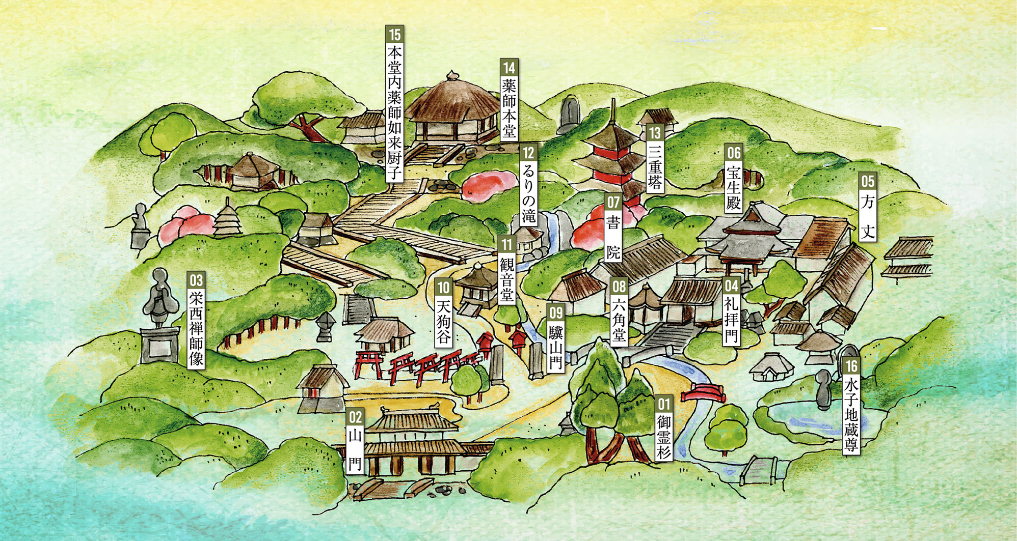 油山寺イラストマップ